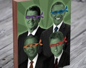 Teenage Mutant Ninja Presidents - Teenage Mutant Ninja Turtles Art -  Wood Block Art Print