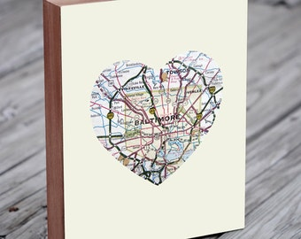Baltimore - Baltimore Art - Baltimore Map - Baltimore Map Art - City Heart Map - Wood Block Art Print