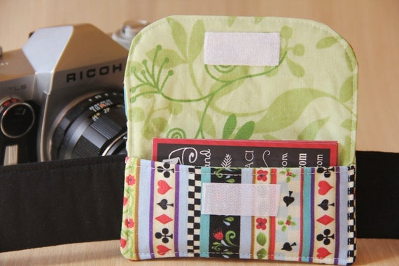 Camera Strap Business Card Pocket - Stripes and Green Vines - Ready to Ship