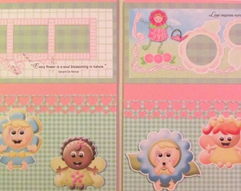 12 x 12 premade scrapbook pages for a baby girl