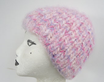 Pink Lavender Pastel striped Ribbed Knit Hat Beanie