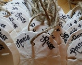 Beach Wedding Favors, Ocean Inspired Personalized Ornaments, Custom Calligraphy Sand Dollars with Rustic Twine- Special Designs Available