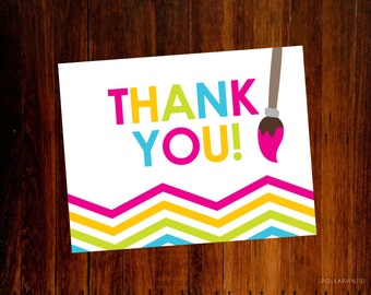 Panting art party Thank You Cards - set of 15