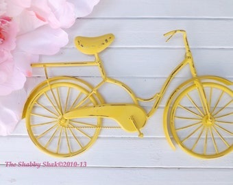 Attractive Bicycle Wall Art / Yellow Wall Decor / Metal Bicycle / Metal Wall Decor /  Shabby