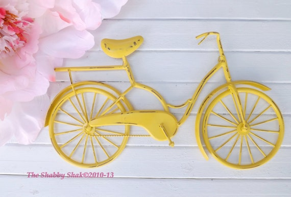 Bicycle Wall Decor bicycle wall art / yellow wall decor / metal bicycle / metal