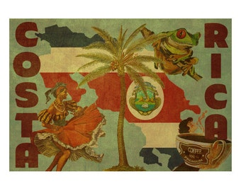 COSTA RICA  2F- Handmade Leather Postcard / Note Card / Fridge Magnet - Travel Art