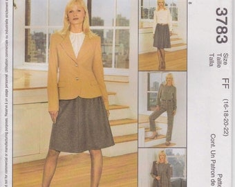 Wardrobe Pattern Skirt Jacket Pants Blouse Pattern Size 16, 18. 20, 22 Uncut McCall's 3783