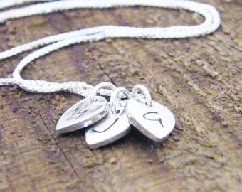 mothers day hand stamped custom initial letter charm necklace all in sterling silver three letters