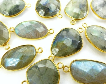 LABRADORITE. CoNNEcTOR LiNKS. Natural. MEDiUm SiZe. Flat Rose Cut Polki. Vermeil. 5 pc. 40.0 cts. 14 to 19 mm (C-Lab2gold)