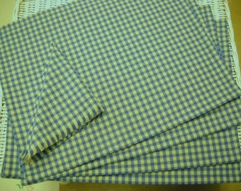 Placemats and napkins  set of four blue and beige check