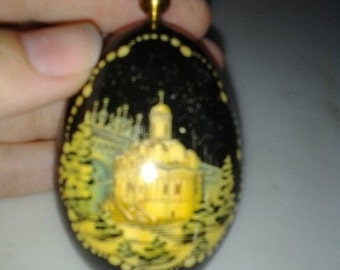 Exquisitely Detailed Handpainted Russian Egg with Gold Cross