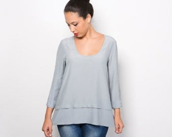 Women blouse Light blue long sleeve top, serenity blue top, round neck women shirt