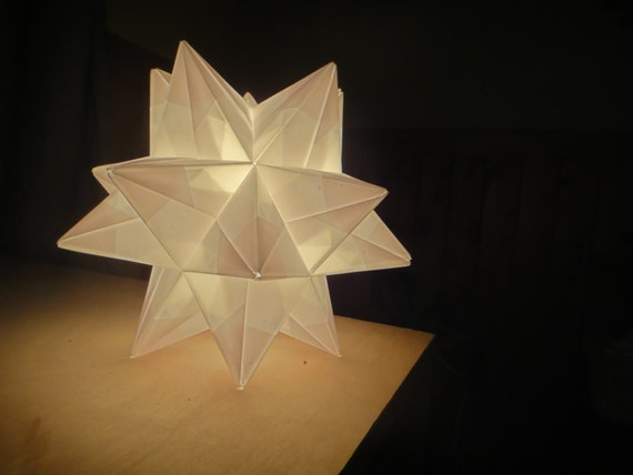 White origami paper modular star lamp handmade in vermont for Paper star lamp