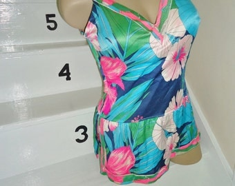 SALE Tropical Floral Bullet Bra Vintage 1960's Jantzen Womens Skirted Swimsuit M L
