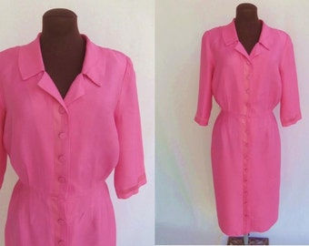 Vintage 50s Dress Shirtwaist  Hot Pink LIKE NEW Size M / L