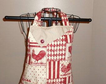 Rust Colored Roosters Apron