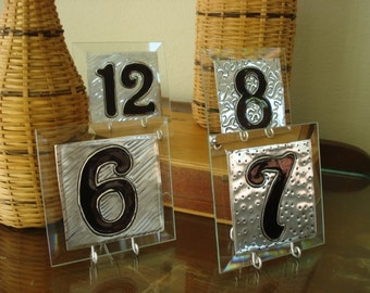 "Table Numbers Wedding Medium Glass and Metal Silver Table Numbers 10pk  MEDIUM 4""x4"" with holders included."