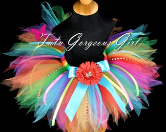 Rainbow Birthday Tutu with Ribbon Streamers...First Birthday Tutu, Dance Recital Tutu...Baby, Toddler, Girls Sizes . . . RAINBOW BASH