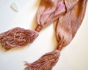 Dusty Pink Tassel Scarf, Hand Dyed, Hand Woven Pastel Scarf, Silk Rayon, Girlfriend Gift