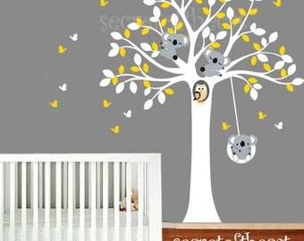 Wall Decals Nursery. Nursery Wall Decal. Tree and Koalas decal. Koala wall decal. Baby tree decal. Koala