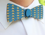 Wooden Intricate Laser Cut Bow Tie - Handsome Mens Gift from Blue Stained Maple Wood