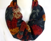 French Navy Floral Silk Infinity Scarf Warm Red Tangarine Gold Colors Circle Scarf