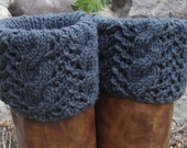 Boot Toppers - Charcoal Cables & Lace