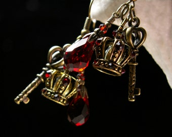 Blood Red Crystal Victorian Earrings, Garnet Crimson Crown Skeleton Key Steampunk Charms, Antiqued Gold Filigree Titanic Temptations Jewelry