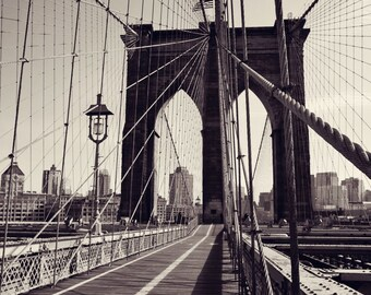 Popular items for black and white nyc on etsy for Brooklyn bridge black and white wall mural