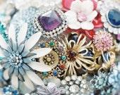Brooch Bouquet - Custom Jewelry Heirloom Bouquet - Large - Rhinestones, Crystals, Enamel Flowers - Handmade in the US