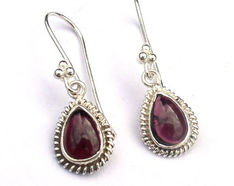 Garnet Earrings January Birthstone Sterling Silver