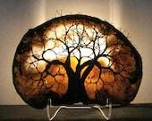 Wire Tree Of Life Grove SpiRits sculpture Brazil Geode Agate slice Gemstone Lamp, Weddings, Anniversary, handmade original art