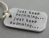Finding Nemo Inspired Hand Stamped Keychain Just Keep Swimming... by TheCopperFox