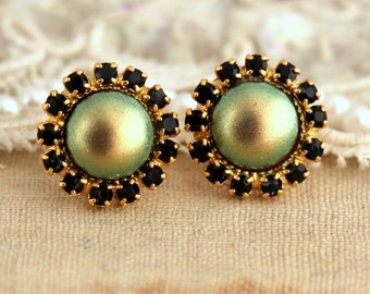 Gold stud earrings, Black green swarovski pearls and crystal earrings,bridesmaids earrings,gift for woman - 14 K Gold plated earrings.
