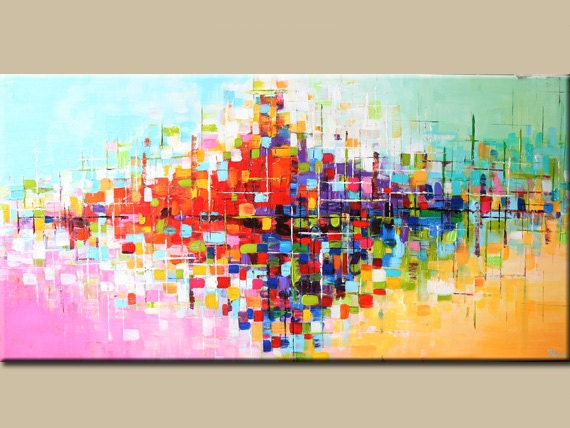 Abstract acrylic painting original abstract painting by for Peinture mural original