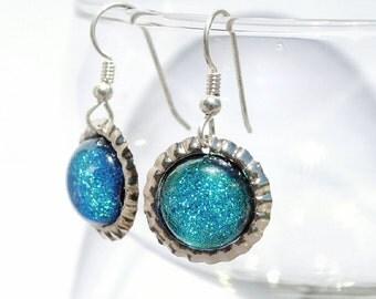 Mini Bottle Cap Dichroic Glass Earrings, Fused Glass Jewelry, Sterling Silver Hooks - Pastel Shimmer, Spring - Teal (Item #30827-E)