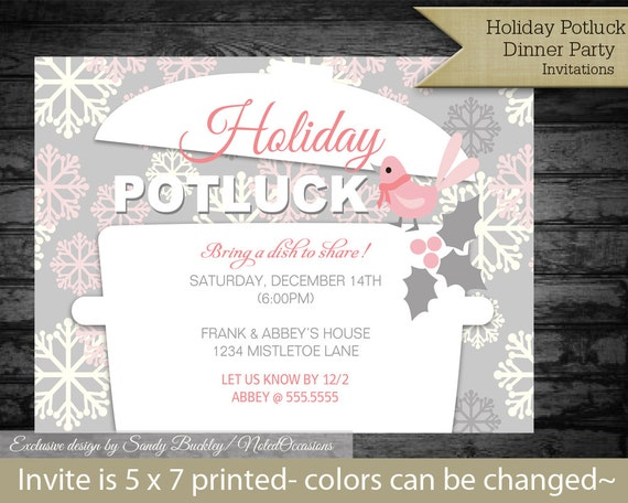 Printable Holiday Potluck Dinner Party Invitations | Crockpot and Snowflakes | Potluck Digital File to Print on your Own