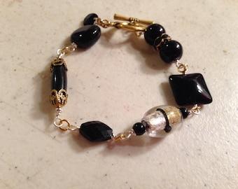 Black Bracelet - Silver Gold Jewelry - Wire Wrapped Jewellery - Fashion - Mod - Funky - Statement