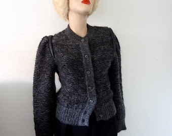 1980s Mohair Sweater / leather trim fuzzy wool knit cardigan / vintage fall & winter fashion