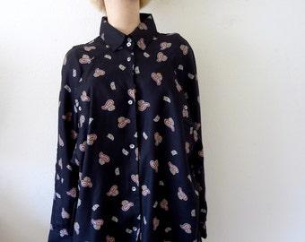 1980s Batwing Blouse / oversized paisley print shirt / retro vintage