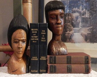 RARE ----Vintage AFRICAN----Bookends --- Wood Hand CARVED-- Woman and Man Head Bust Figures