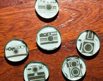 Vintage Camera Glass Marble Magnets