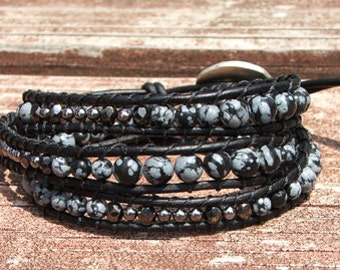 Handmade Leather Wrap Bracelet - Snowflake Obsidian beads on leather