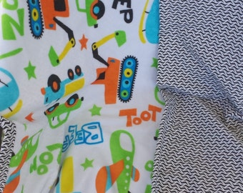 Making tracks and Minky Machines toddler blanket