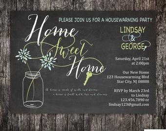 Chalkboard housewarming party invitation - new home - new address - customizable - DIY