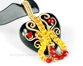 Red and Yellow Glass Beads on Gold Wrapped Black Ceramic Heart Necklace Pendant