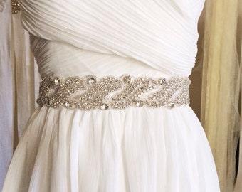 SALE - Bridal crystal sash, bridal crystal belt, beaded bridal belt, beaded bridal sash, beaded wedding sash, beaded wedding belt - CHARIS