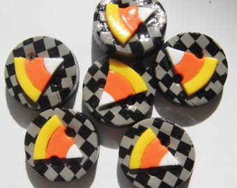 Button Check Candy Corns handmade polymer clay buttons ( 6 )