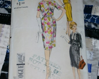 "Vintage 1960s Vogue Pattern 5876, Misses Dress, Size 16, Bust 36"", Hip 38"""