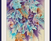 Abstract Watercolor of Fall Leaves Blues Purple Brown by Colorado Artist Martha Kisling